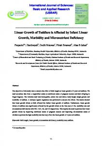 Linear Growth of Toddlers is Affected by Infant Linear ...
