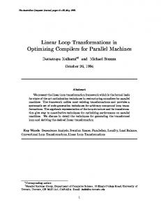 Linear Loop Transformations in Optimizing Compilers for ... - CiteSeerX