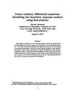 Linear ordinary differential equations. Revisiting the impulsive