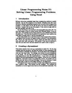 Linear Programming Notes IV: Solving Linear Programming ...