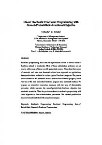 Linear Stochastic Fractional Programming with ... - Optimization Online
