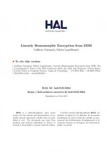 Linearly Homomorphic Encryption from DDH - Hal