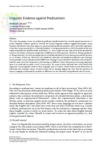Linguistic Evidence against Predicativism - Wiley Online Library