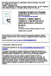 Linguistic structure, discourse structure, and event structure