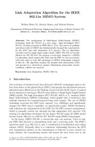 Link Adaptation Algorithm for the IEEE 802.11n MIMO ... - Springer Link