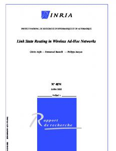 Link State Routing in Wireless Ad-Hoc Networks - HAL-Inria