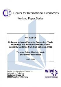 Linkages between Financial Deepening, Trade Openness and ...