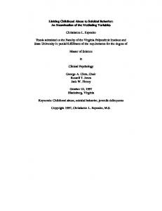 Linking Childhood Abuse to Suicidal Behavior: An