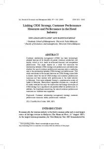 Linking CRM Strategy, Customer Performance Measures and ...