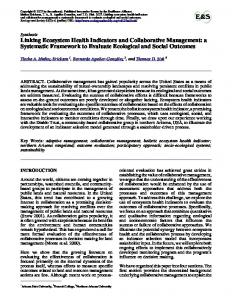Linking Ecosystem Health Indicators and Collaborative Management ...