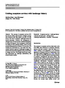 Linking ecosystem services with landscape history - Wu's Landscape ...