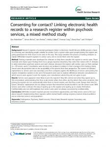 Linking electronic health records to a research ... - Semantic Scholar