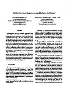 Linking Functional Requirements and Software Verification - CiteSeerX