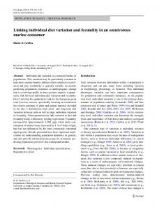 Linking individual diet variation and fecundity in an omnivorous ...