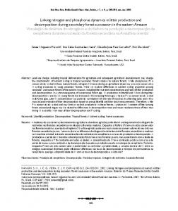 Linking nitrogen and phosphorus dynamics in litter production ... - Ainfo