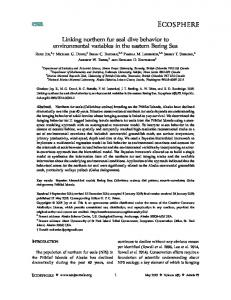 Linking northern fur seal dive behavior to environmental variables in ...