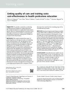 Linking quality of care and training costs: cost& ... - Semantic Scholar
