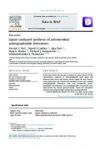 Lipase catalyzed synthesis of antimicrobial andrographolide derivatives