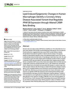 Lipid-Induced Epigenomic Changes in Human Macrophages ... - PLOS