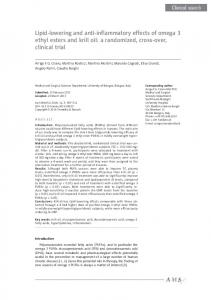 Lipid-lowering and anti-inflammatory effects of omega 3 ethyl esters ...