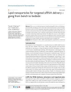 Lipid nanoparticles for targeted siRNA delivery - Semantic Scholar