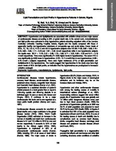 Lipid Peroxidation and lipid Profile in Hypertensive Patients in Sokoto ...