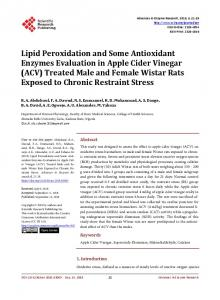 Lipid Peroxidation and Some Antioxidant Enzymes