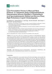 Lipid Peroxidation Process in Meat and Meat Products - MDPI