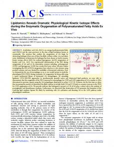 Lipidomics Reveals Dramatic Physiological Kinetic Isotope Effects ...