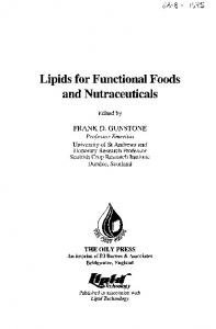 Lipids for Functional Foods and Nutraceuticals