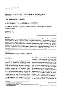 Lipolysis Induced by Alloxan in Rat Adipocytes is - Complex of ...