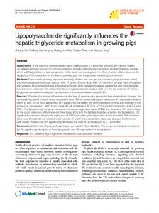 Lipopolysaccharide significantly influences the hepatic ... - Core