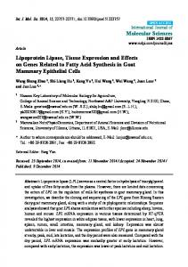 Lipoprotein Lipase, Tissue Expression and Effects on Genes ... - MDPI