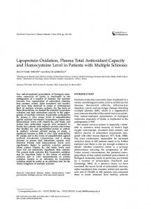 Lipoprotein Oxidation, Plasma Total Antioxidant Capacity and ...