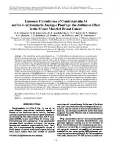 Liposome Formulations of Combretastatin A4 and Its 4 Arylcoumarin ...