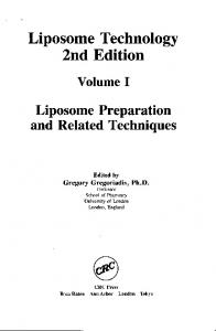 Liposome Technology 2nd Edition