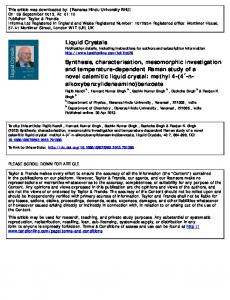 Liquid Crystals Synthesis, characterisation