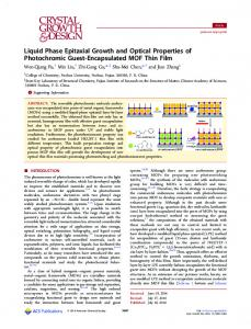 Liquid Phase Epitaxial Growth and Optical ... - ACS Publications