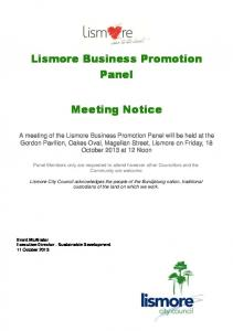 Lismore Business Promotion Panel Meeting Notice - Lismore City ...