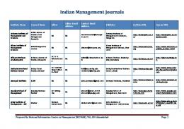 List of Indian Management Journals