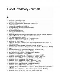 List of Predatory Journals