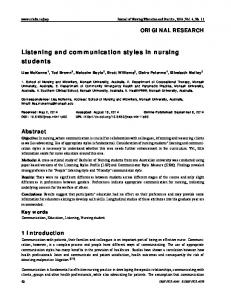 Listening and communication styles in nursing students - Sciedu Press