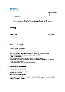 Listening practice test 1 - questions