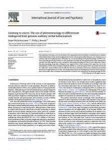 Listening to voices: The use of phenomenology to differentiate ... - Core