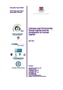 Literacy and Community: Social capital and its