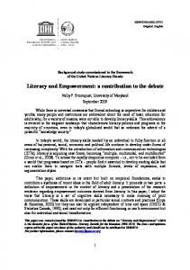 Literacy and empowerment: a contribution to the ... - unesdoc, unesco