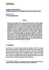 Literacy Practices in Computer-Mediated Communication in Hong Kong