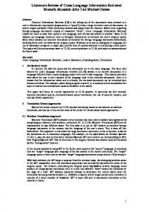 Literature Review of Cross Language Information ...