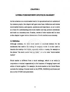 LITERATURE REVIEW OF STOCK MARKET