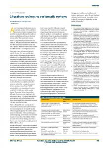 Literature reviews vs systematic reviews - Wiley Online Library